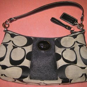 Black and Gray Coach Signature C Handbag